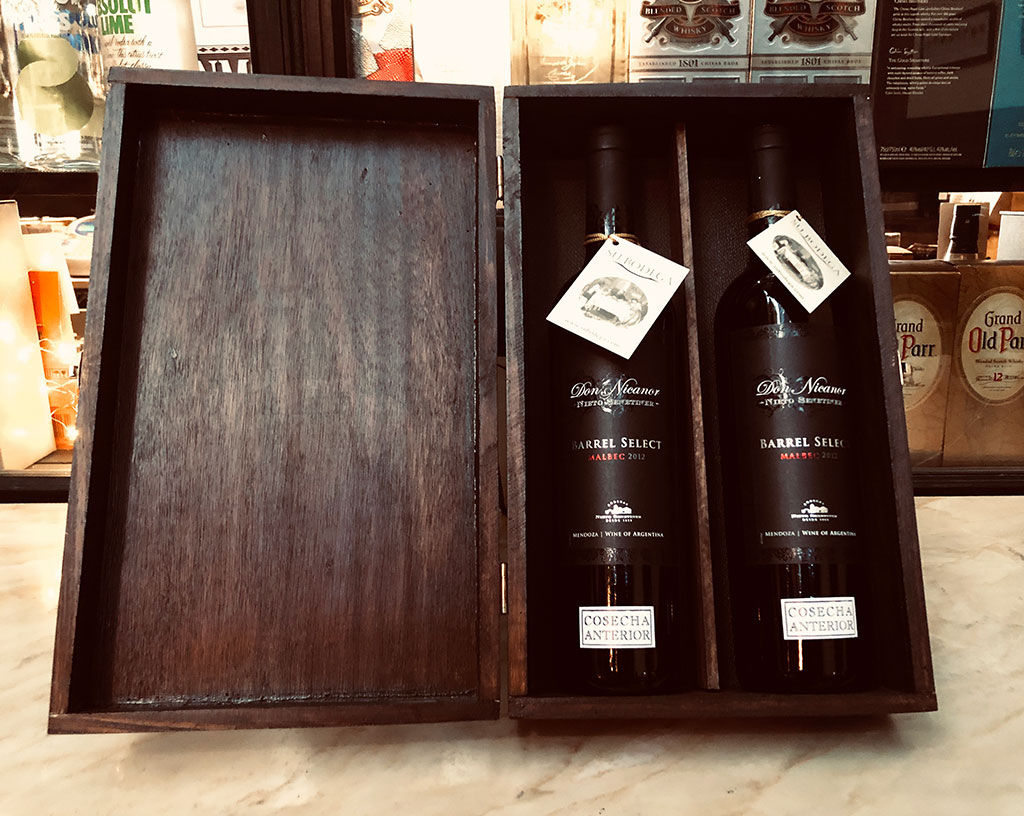 Estuche madera negra x 2 vinos Don Nicanor Barrel Select