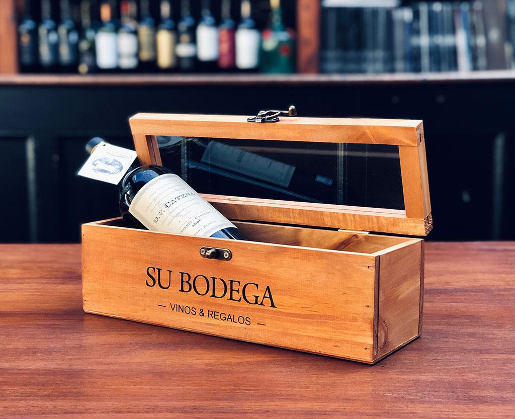 Estuche madera c/ tapa vidrio x 1 vino
