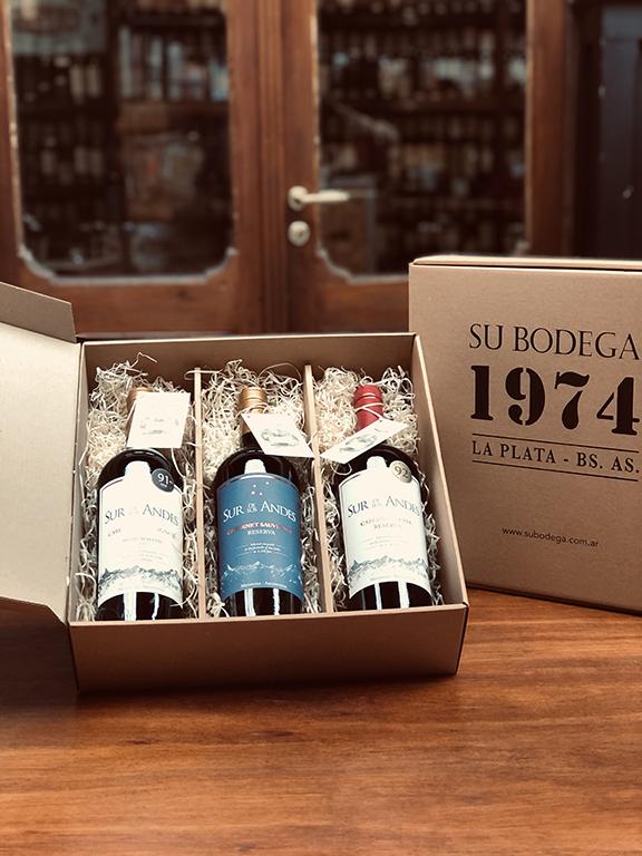 Estuche cartón 3 vinos Sur de los Andes